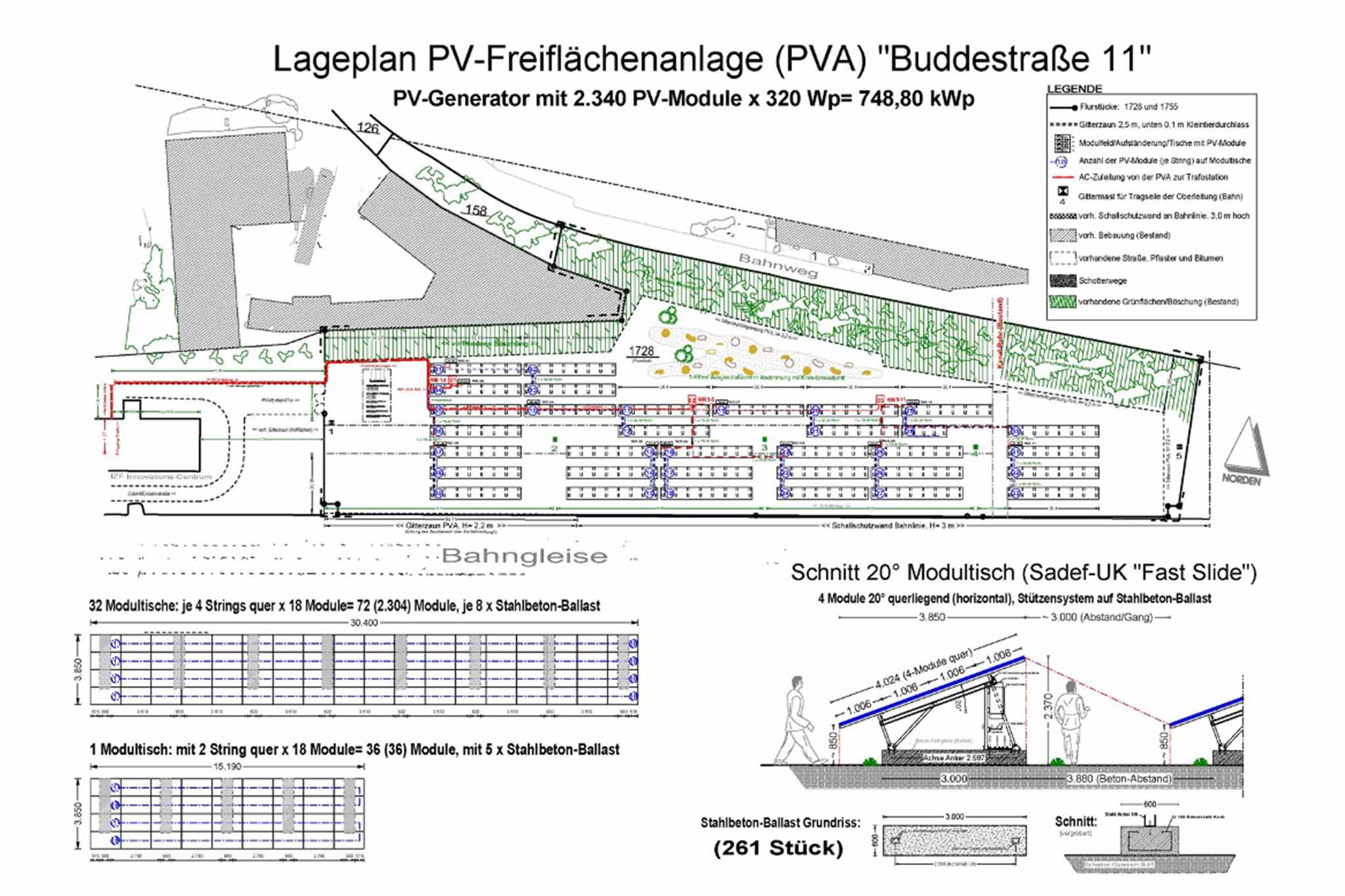 Lageplan einer Freiflächen-Photovoltaik-Anlage