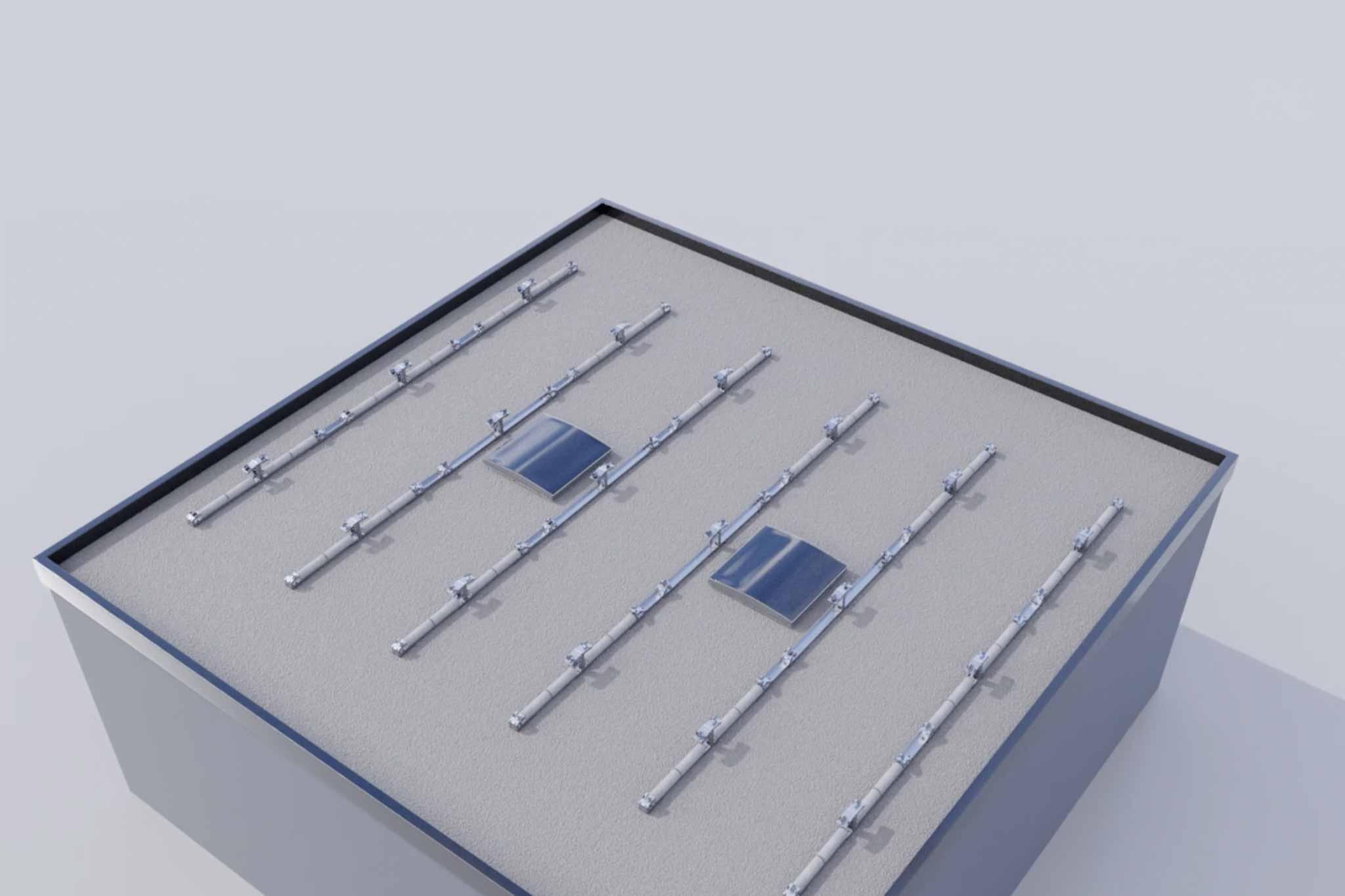Für Modul-Montage vorbereitete PV-Konstruktion