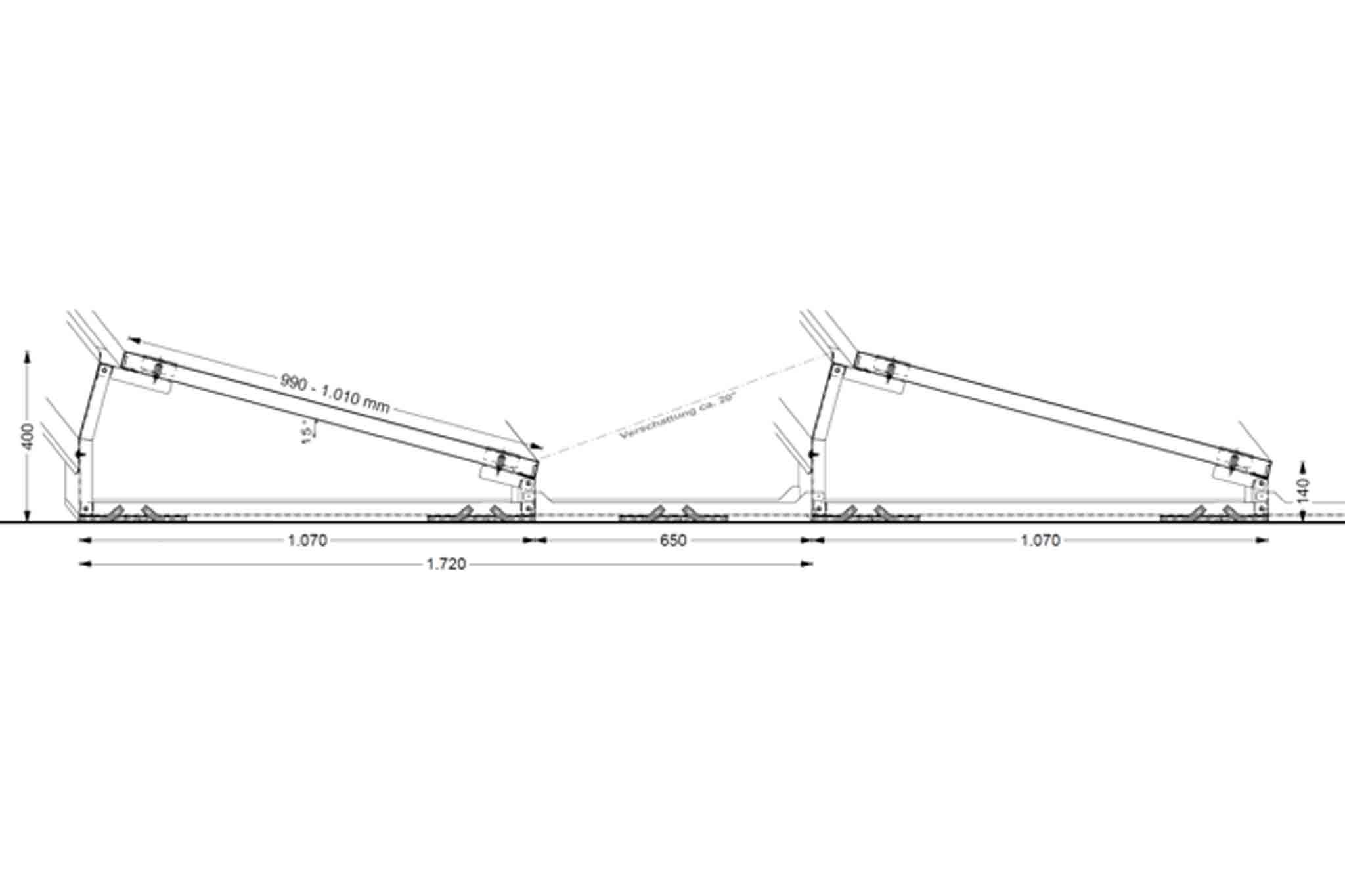 Querschnitt eines PV-Montagesystems