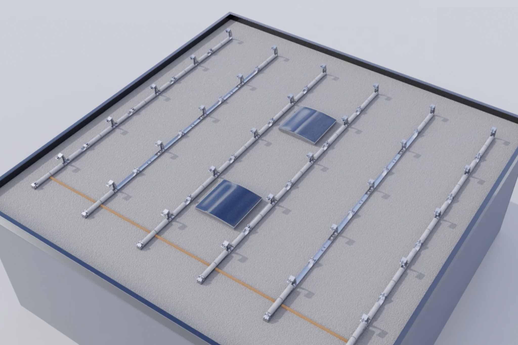Für PV-Modul-Montage vorbereitete Konstruktion